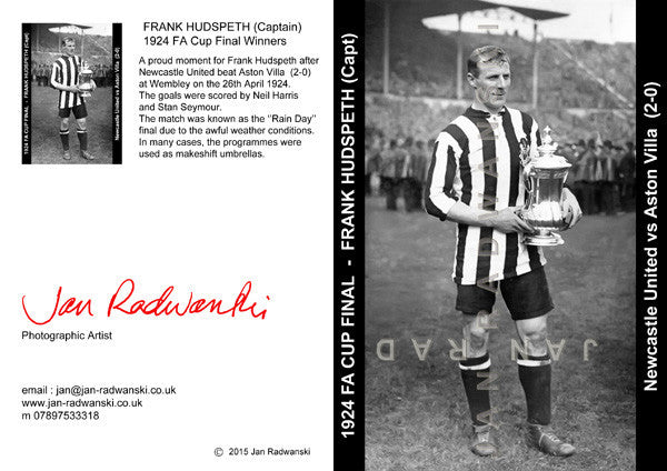 Frank Hudspeth Newcastle United FA Cup Captain 1924 | Front View | Greeting Card
