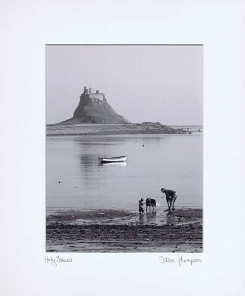 Holy Island | Northumberland | Black & White Photographic Mounted Print | Tyneside Prints