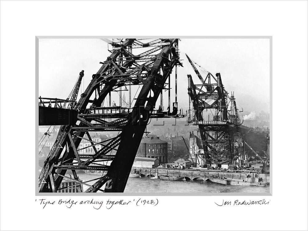 Tyne Bridge Arching Together 1928 - Mounted Fine Art Print