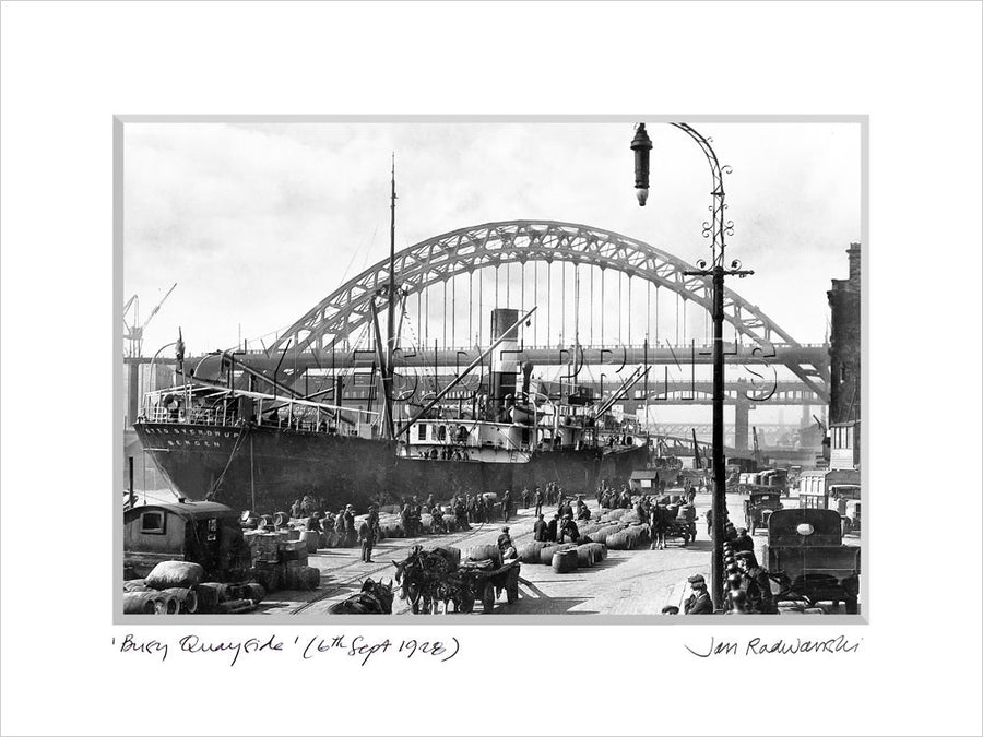 Tyne Bridge Busy Quayside Newcastle 1928 - Mounted Fine Art Print