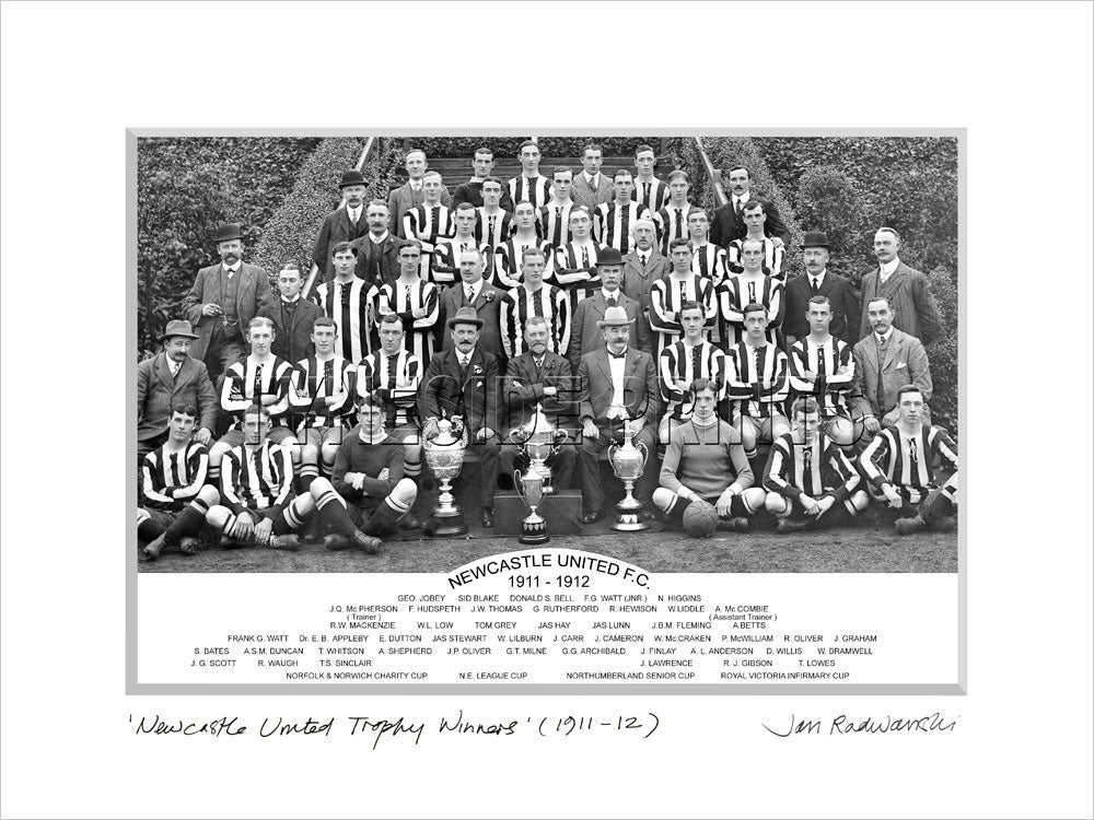 Newcastle United Trophy Winners 1911-12 Mounted Fine Art Print
