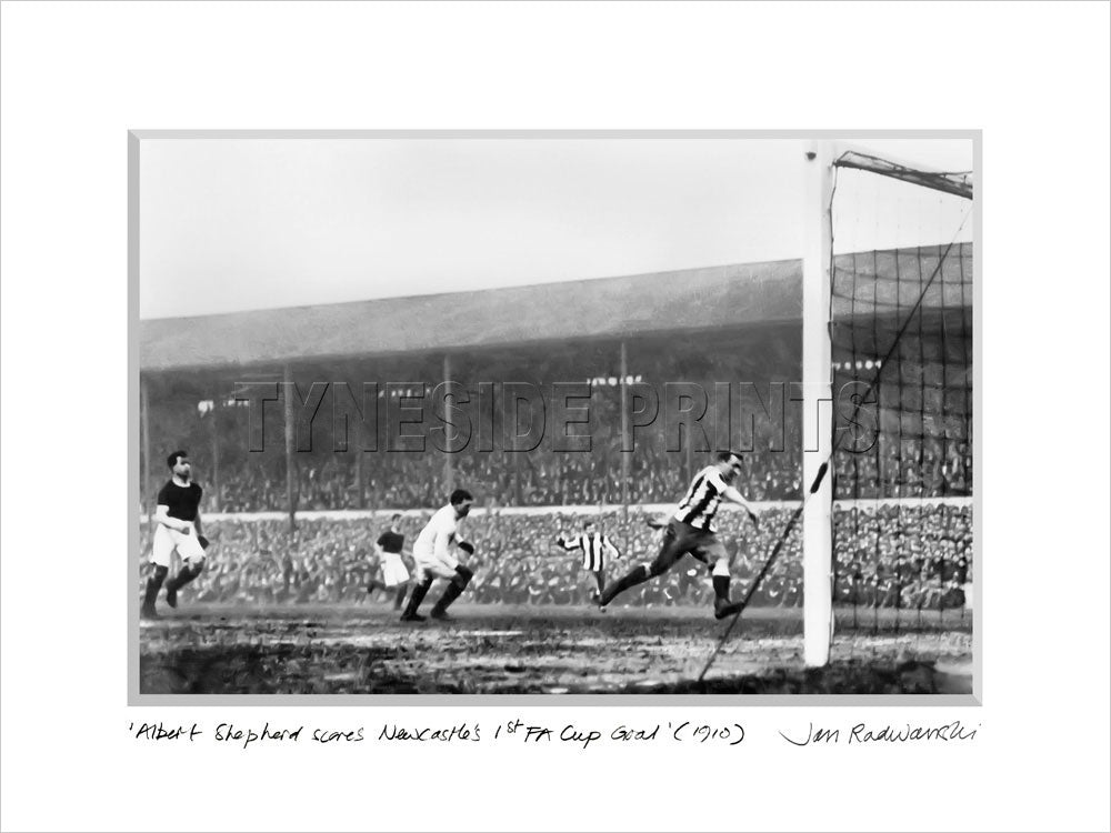 Newcastle's 1st FA Cup Winning Goal 1910 Mounted Fine Art Print