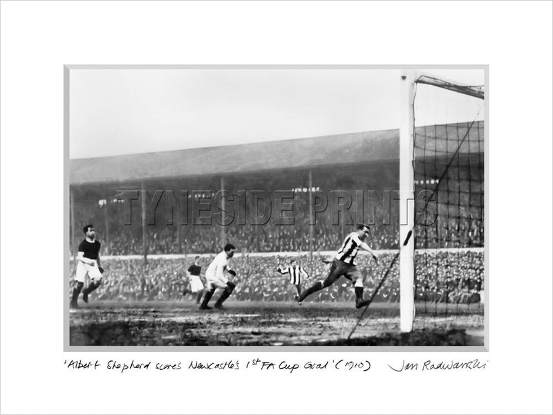 Newcastle's 1st FA Cup Winning Goal 1910 - Mounted Fine Art Print