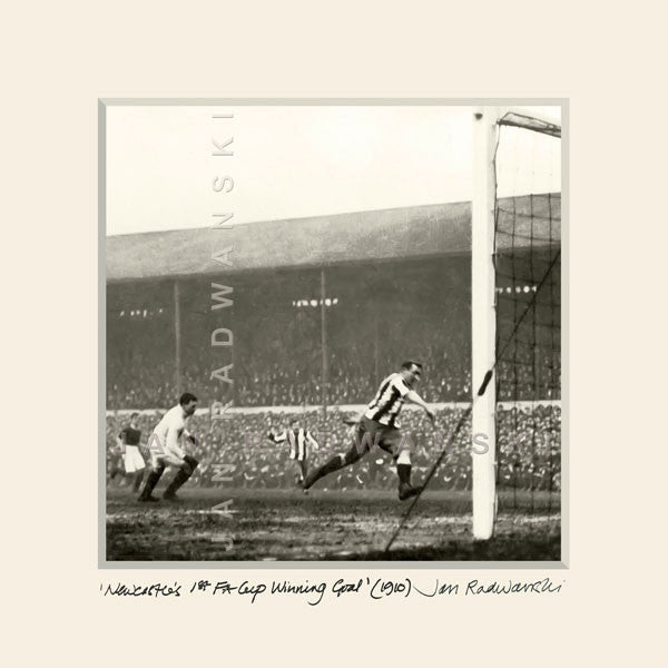 Newcastle's 1st FA Cup Winning Goal 1910 | Size 1 25cm x 25cm | Mounted Fine Art Print