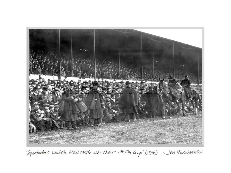 Spectators Watch Newcastle United Win Their 1st FA Cup 1910 Mounted Fine Art Print