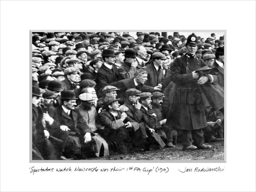 Spectators watch Newcastle win their 1st FA Cup 1910 Mounted Fine Art Print