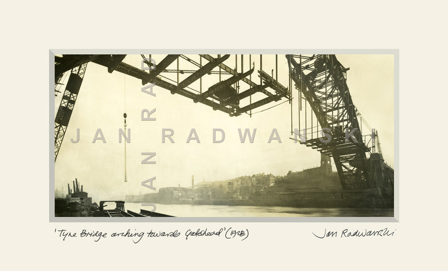 Tyne Bridge arching towards Gateshead (1928) | Mounted Fine Art Print