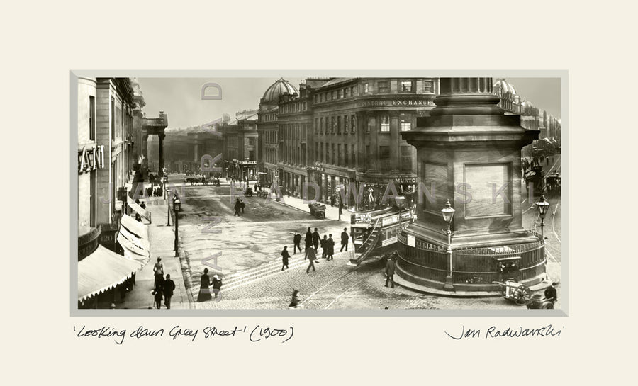 Looking Down Grey Street Newcastle (1900) | Mounted Fine Art Print