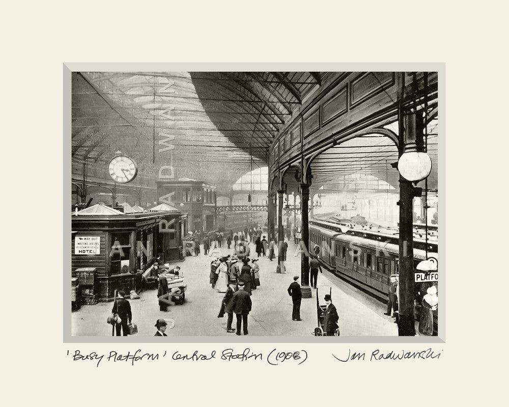Busy Platform Central Station Newcastle (1908) | Mounted Fine Art Print