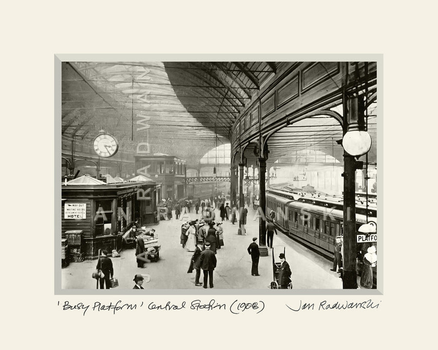 Busy Platform Central Station Newcastle (1908) | Size 1 [L] 250mm x 200mm | Mounted Fine Art Print