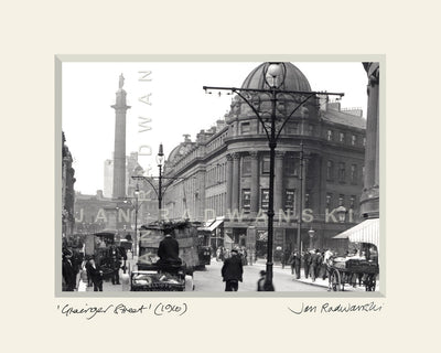 Grainger Street Newcastle (1910) | Size 1 [L] 250mm x 200mm | Mounted Fine Art Print