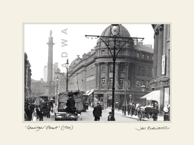 Grainger Street Newcastle (1910) | Size 2 [L] 400mm x 300mm | Mounted Fine Art Print