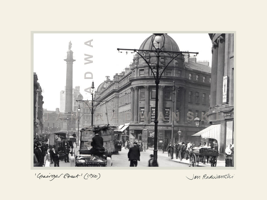 Grainger Street Newcastle (1910) | Mounted Fine Art Print