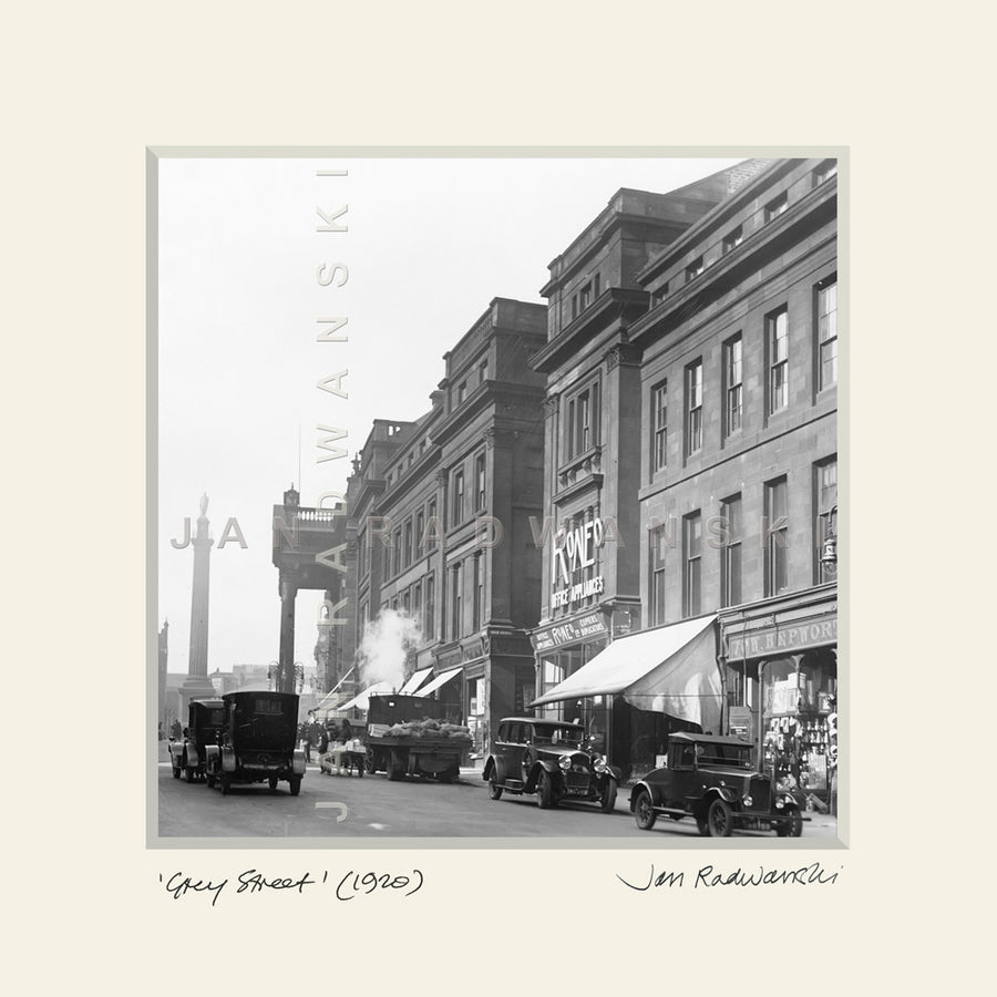 Grey Street Newcastle (1920) | Mounted Fine Art Print