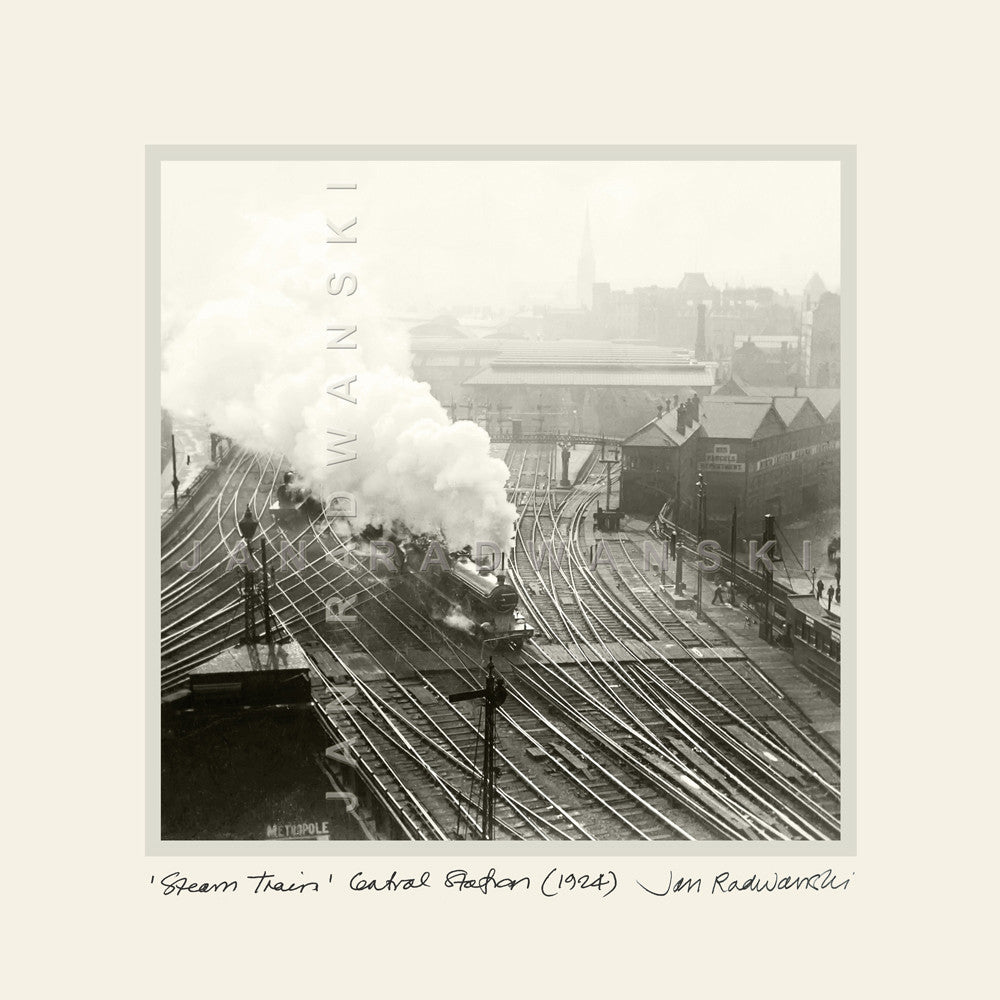 Steam Train Central Station Newcastle (1924) | Mounted Fine Art Print