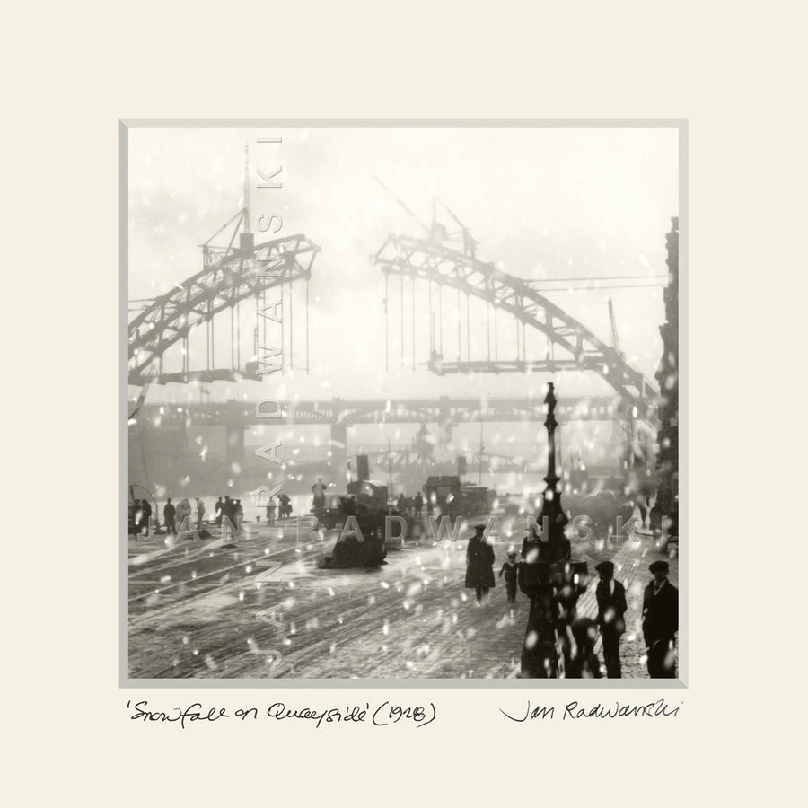 Snowfall on Quayside (1928) | Size 1 [S] 250mm x 250mm | Mounted Fine Art Print