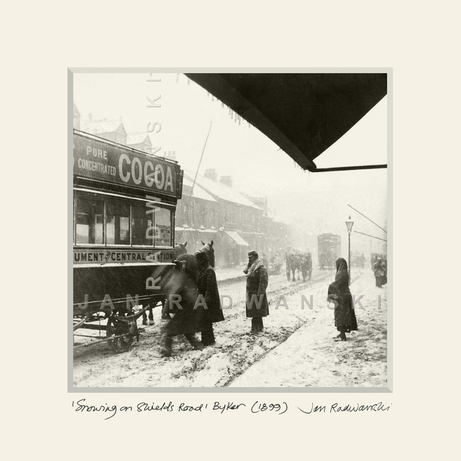 Snowing on Shields Road Byker (1899) | Mounted Fine Art Print