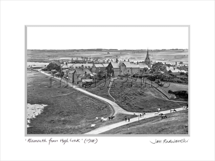 Alnmouth from High Link 1924 Mounted Fine Art Print