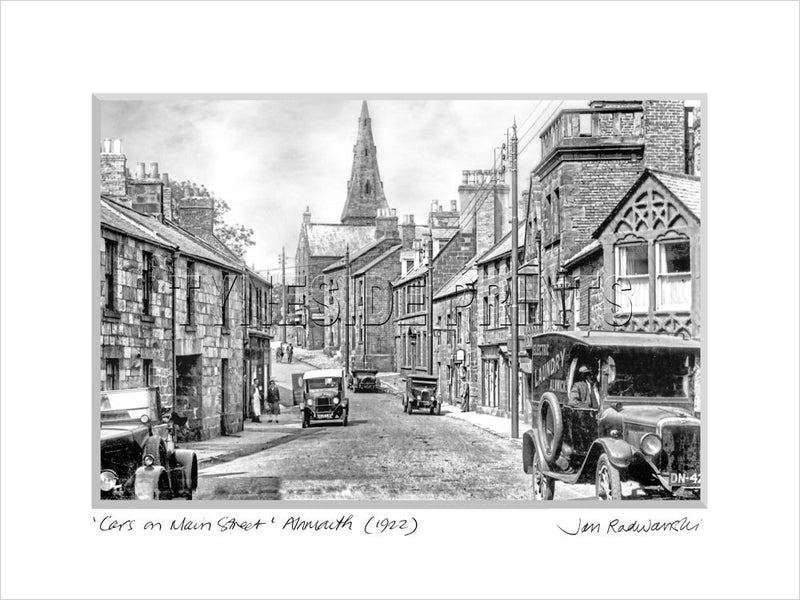 Cars on Main Street Alnmouth 1922 Mounted Fine Art Print