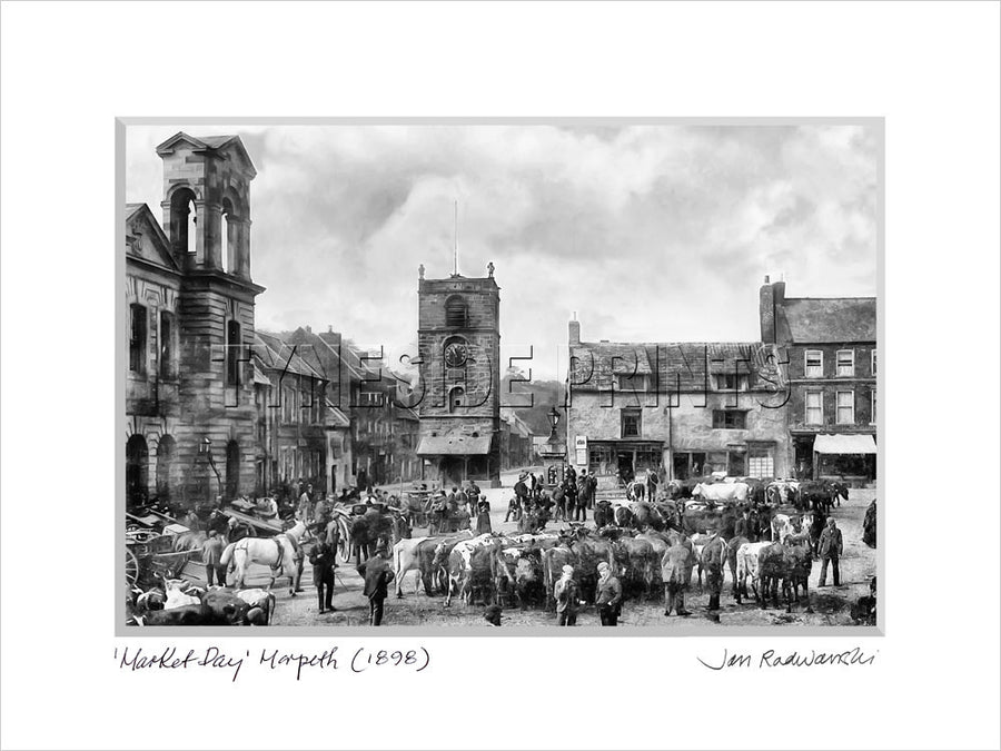 Market Day Morpeth 1898 - Mounted Fine Art Print