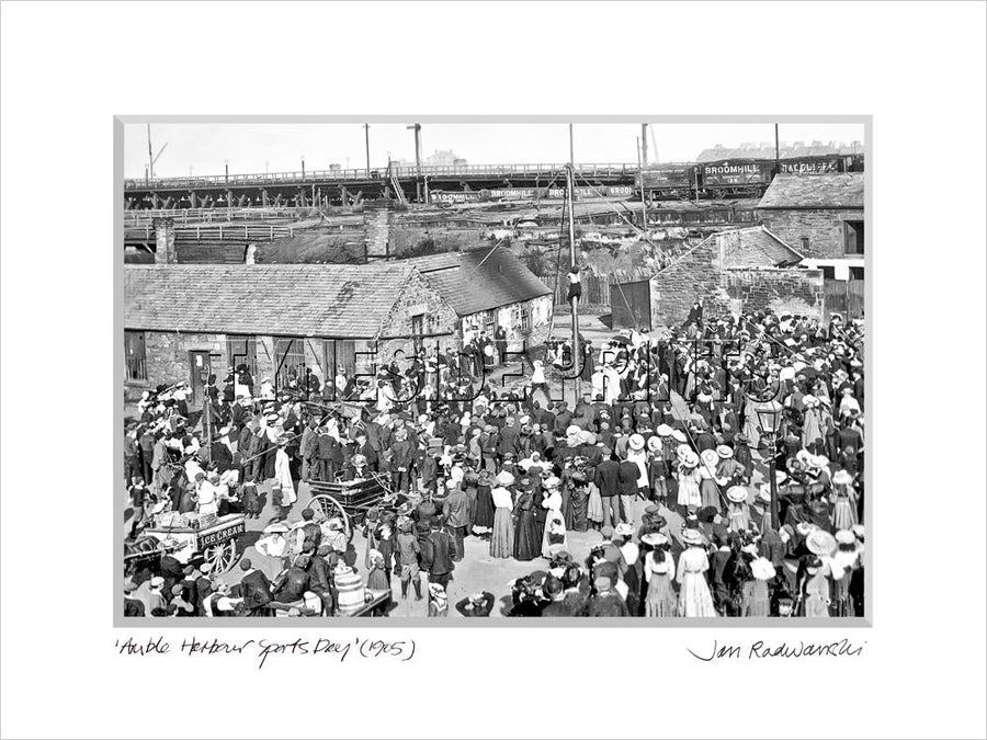 Amble Harbour Sports Day 1905 Mounted Fine Art Print