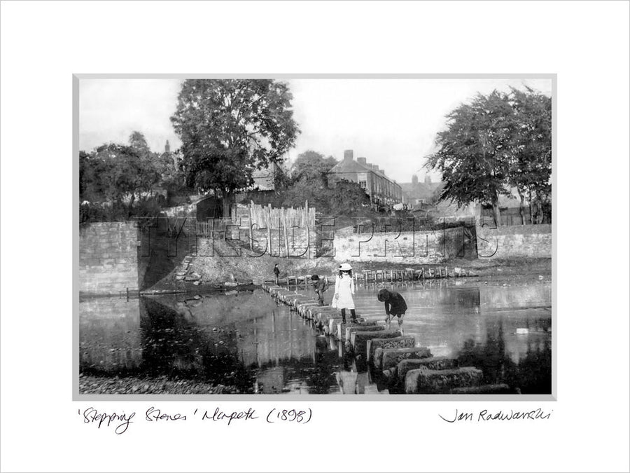 Stepping Stones Morpeth 1898 - Mounted Fine Art Print