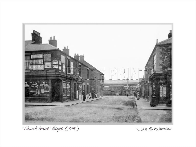 Church Street Blyth 1915 Mounted Fine Art Print