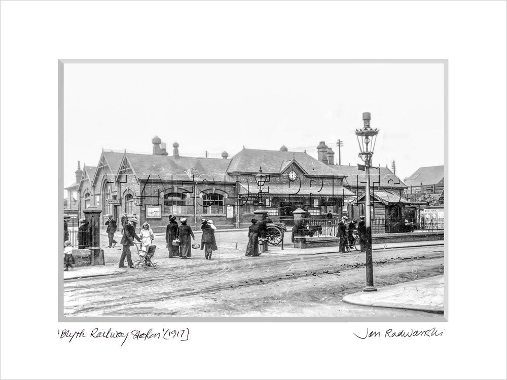 Blyth Railway Station 1917 Mounted Fine Art Print