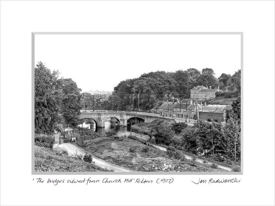 The Bridges Viewed From Church Hill Felton 1927 Mounted Fine Art Print