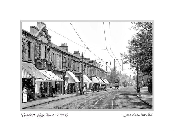 Gosforth high street 1907 mounted fine art print tyneside prints