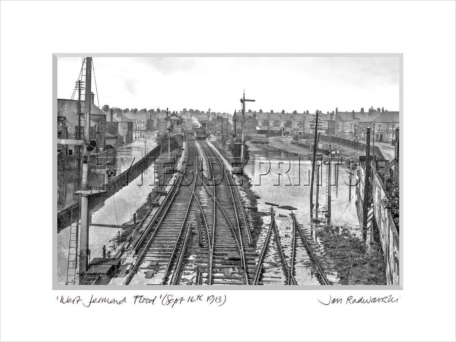 West Jesmond Flood Newcastle 1913 Mounted Fine Art Print
