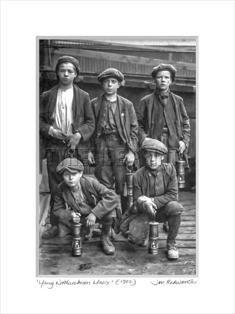 Young Northumbrian Miners 1922 - Mounted Fine Art Print