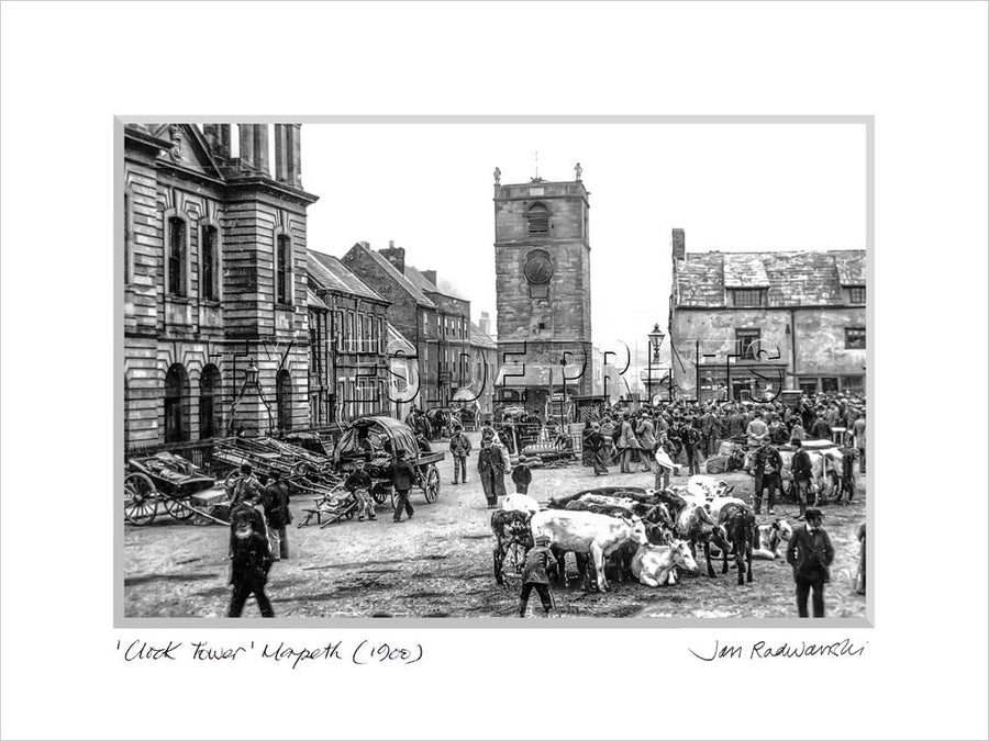 Clock Tower Morpeth 1900 - Mounted Fine Art Print