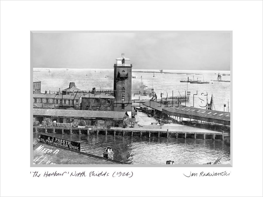 The Harbour North Shields 1924 Mounted Fine Art Print
