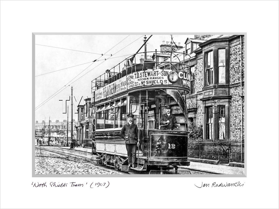 North Shields Tram 1907 Mounted Fine Art Print