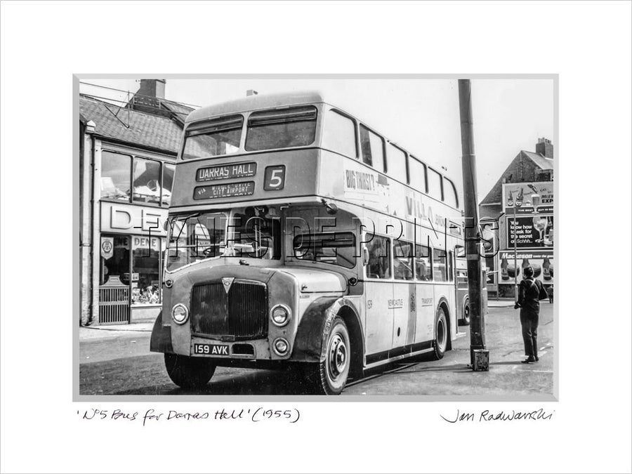 No5 Bus for Darras Hall Ponteland 1955 - Mounted Fine Art Print