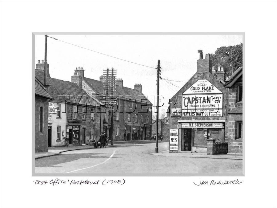 Post Office Ponteland 1908 Mounted Fine Art Print