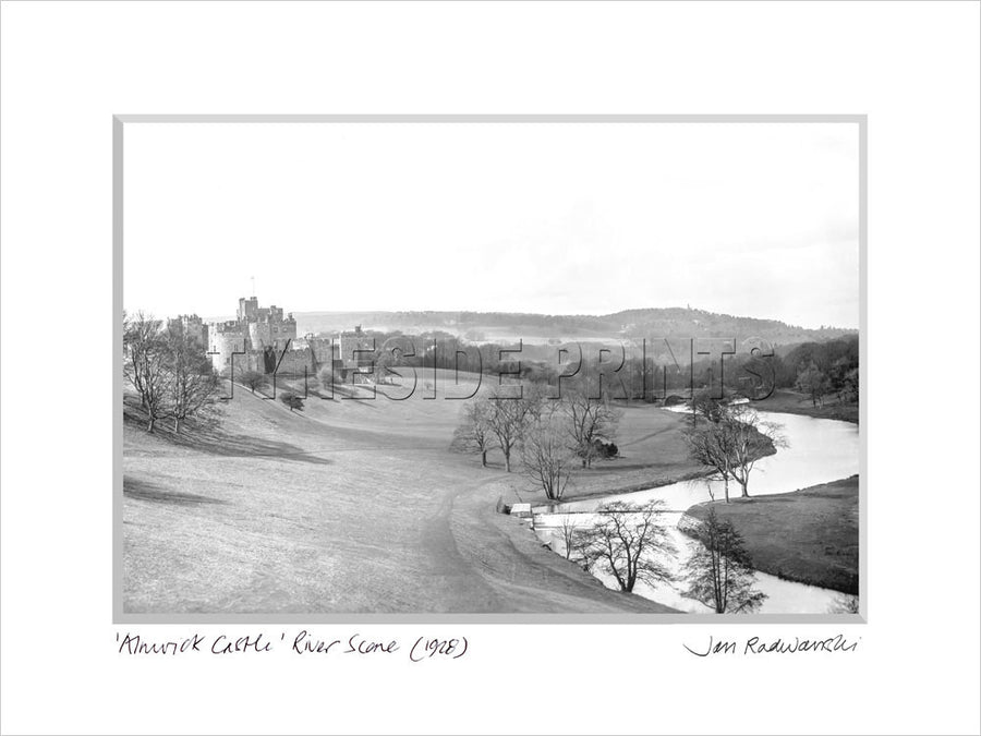 Alnwick Castle River Scene 1928 Mounted Fine Art Print