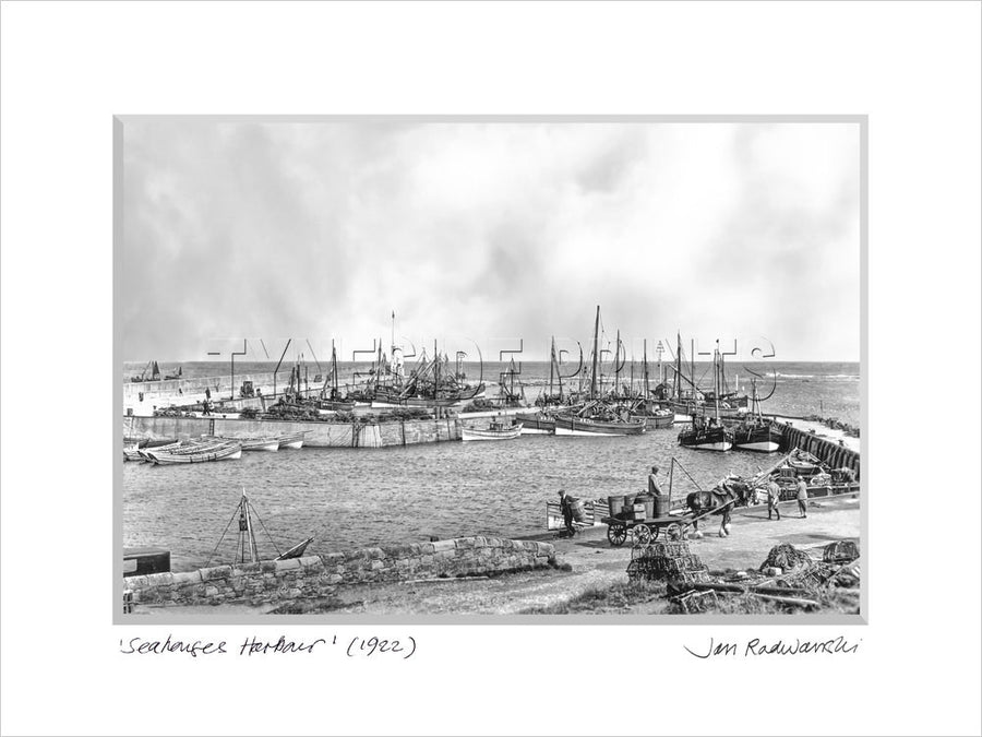 Seahouses Harbour 1922 - Mounted Fine Art Print