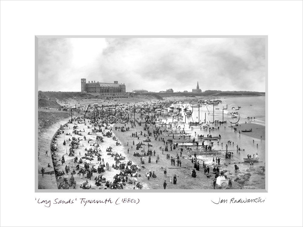 Long Sands Tynemouth 1880s - Mounted Fine Art Print