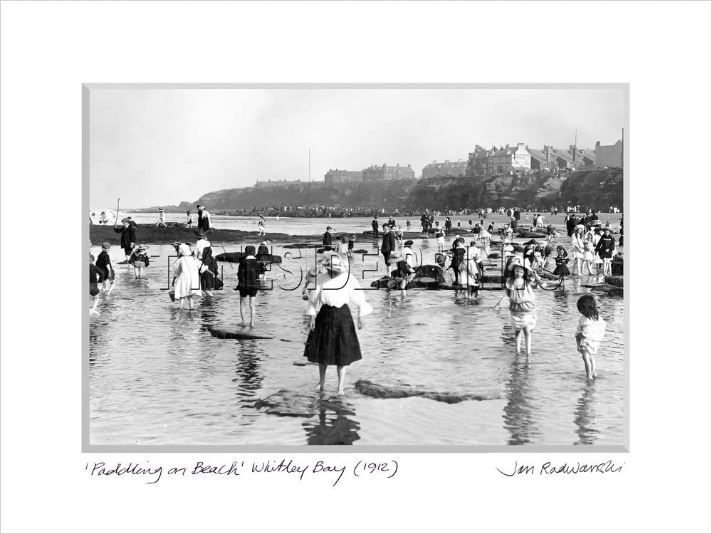 Paddling on the Beach Whitley Bay 1912 - Mounted Fine Art Print
