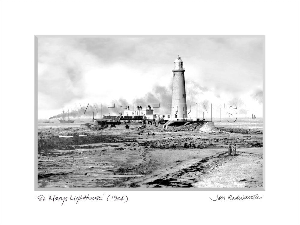 St Mary's Lighthouse Whitley Bay 1924 - Mounted Fine Art Print