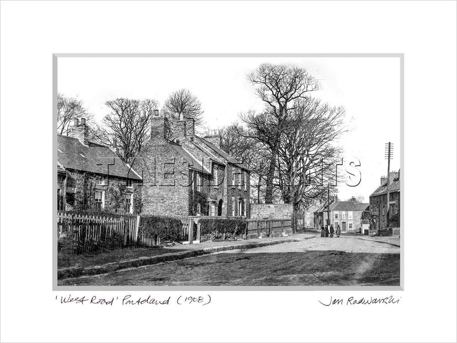 West Road Ponteland 1908 Mounted Fine Art Print