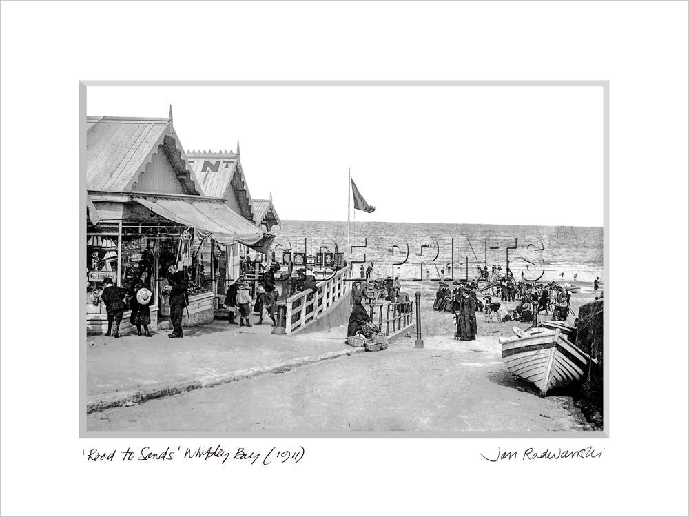 Road to Sands Whitley Bay 1911 Mounted Fine Art Print