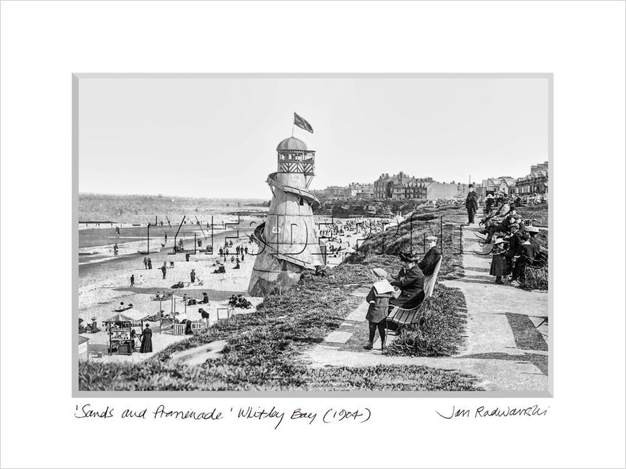 Sands and Promenade Whitley Bay 1904 Mounted Fine Art Print
