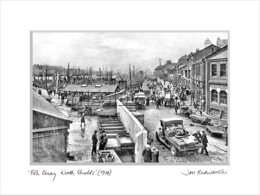 Fish Quay North Shields 1934 - Mounted Fine Art Print