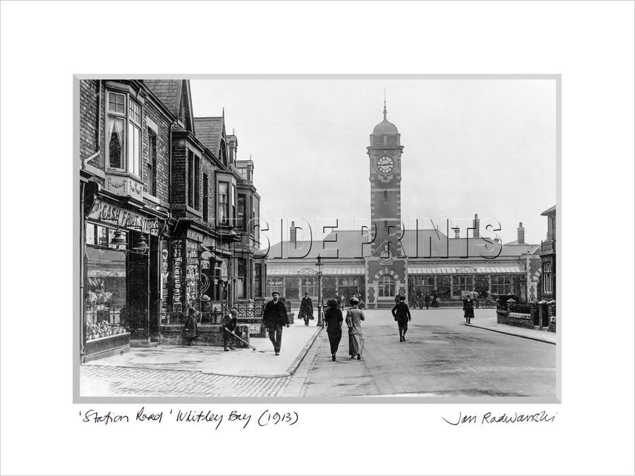 Station Road Whitley Bay 1913 Mounted Fine Art Print