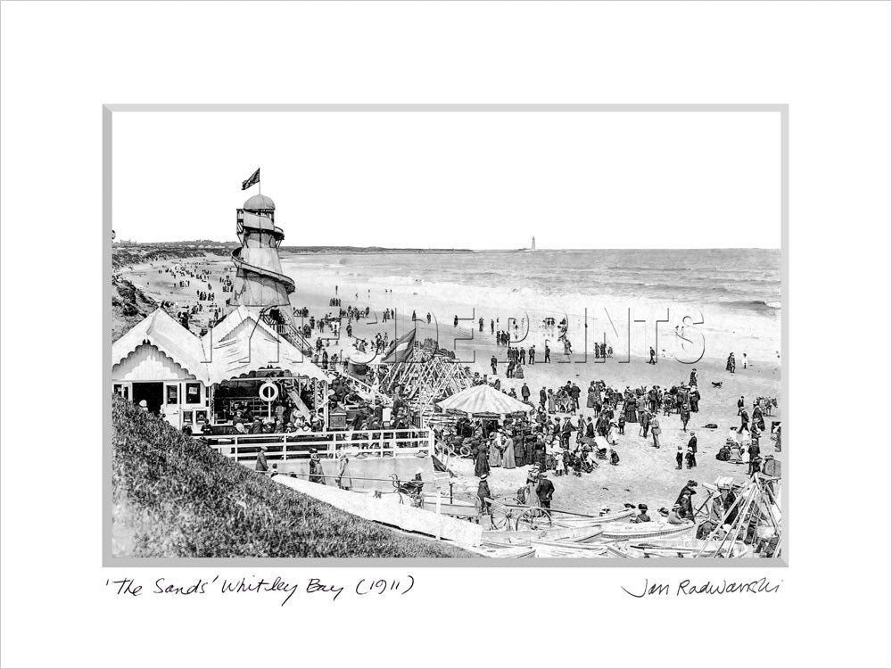 The Sands Whitley Bay 1911 Mounted Fine Art Print