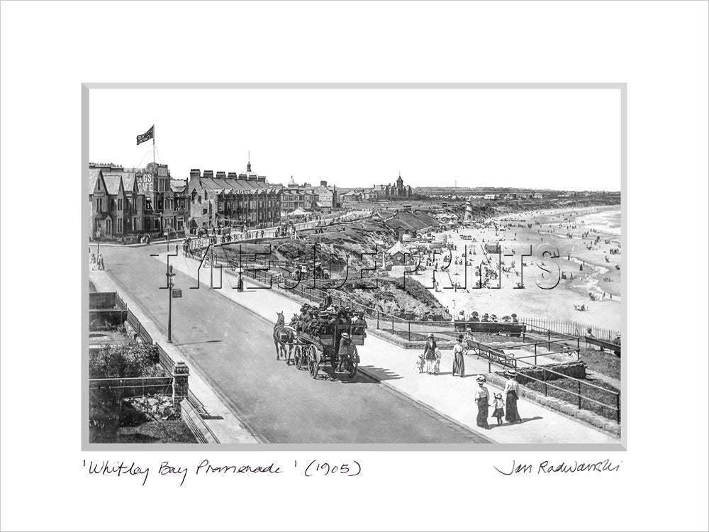 Whitley Bay Promenade 1905 Mounted Fine Art Print