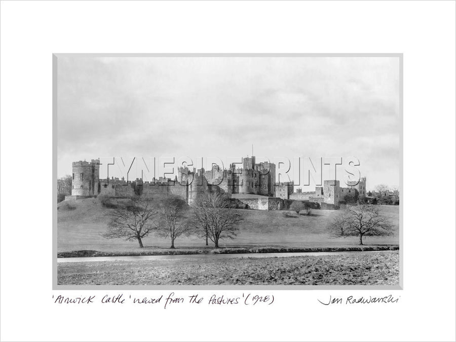 Alnwick Castle from the Pastures 1928 Mounted Fine Art Print